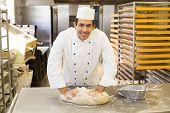 Baker Kneading Dough In Bakery
