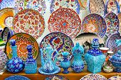 stock photo of ottoman  - Turkish Ceramics from Grand Bazaar, Istanbul, Turkey