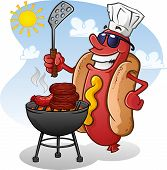 stock photo of grilled sausage  - A hot dog character wearing sunglasses and a chef hat - JPG