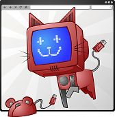 image of gizmo  - A computer cat chasing a wired mouse out of an internet browser - JPG