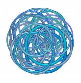 Abstract Round Glossy Torus Shape In Mixed Blue Purple On White