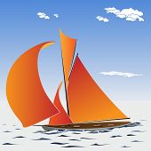 Vector Illustration Of Cartoon Sailing Yacht