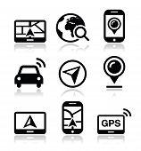 GPS, navigation travel vector icons set
