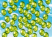 picture of waste reduction  - lots of green balloons with a golden dollar sign on them flying up to the sky - JPG