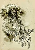stock photo of peace-pipe  - Indian chief holding a peace pipe - JPG