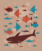 seamless pattern with funny fishes