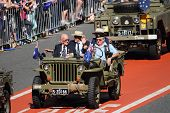Brisbane, Australia - April 25 : Older Veterans Driven Along March Route During Anzac Day Commemorat