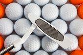 Bolas e o taco de golfe