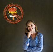 No Nuclear War Pacifist Business Woman, Student, Teacher Or Politician On Blackboard Background