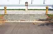 Ladder As Part Of A Thai Temple. The Wat Rhai Pa, Trat, Thailand