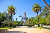 Columbus Monument in beautiful park in Seville, Andalusia, Spain.