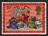 UK - CIRCA 1979: A stamp printed in UK shows image of The Angel appearing to the Shepherds, circa 19