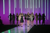 ZAGREB, CROATIA - MARCH 15: Fashion model wears clothes made by Martina Felja on