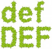 Vector set of puzzle jigsaw letters, big and small
