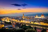 picture of cupola  - Scenic view of Florence after sunset from Piazzale Michelangelo Florence Italy - JPG