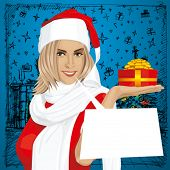 image of chatterbox  - Vector Woman with gift in her hand waiting for Christmas - JPG