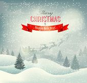 Christmas winter landscape background with santa sleigh. Vector.