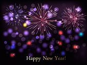 Holiday background with colorful fireworks. Happy New Year! Vector illustration