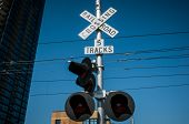 picture of railroad-sign  - San Diego railroad crossing sign and traffic lights