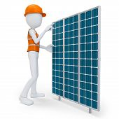 3D Man Worker With Solar Panel