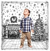 Baby looking up in Christmas, cute little boy