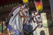 foto of carousel horse  - Carousel horses on the city children - JPG