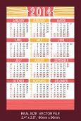 Red Pocket Calendar 2014