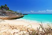 stock photo of playa del carmen  - Caribbean Sea beach in Playa del Carmen - JPG