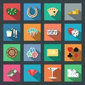 Casino flat icons set