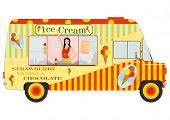 image of ice-cream truck  - Retro cartoon van with ice cream on a white background - JPG