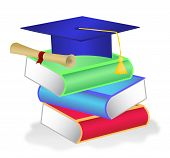 Stack of books with diploma and graduation hat