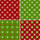 Seamless Pattern With Snowflakes. Vector Set.