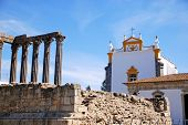 Roman Temple And Catholic Church(Portugal, Evora)