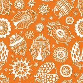 Beetle Floral Doodle Seamless Vector Pattern For Backgrounds Wedding Textile Interior And Decoration