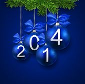 Blue christmas balls. New year illustration. 2014. Vector.