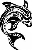 foto of porpoise  - Abstract Dolphin design for tribal art and tattoo - JPG
