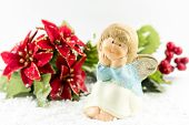 Holy Baby Angel With Poinsettia