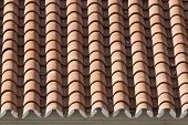 Closeup of old roof tiles, Spain