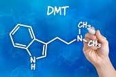 Hand with pen drawing the chemical formula of DMT