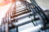 dumbbells in modern sports club. Weight Training Equipment