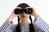 Female Sailor Looking Through Binoculars
