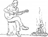 vector - plays guitar player sitting on the stump by the fire