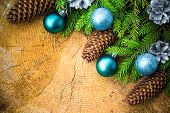 Christmas Tree Spruce Pine Wooden Christmas Balls