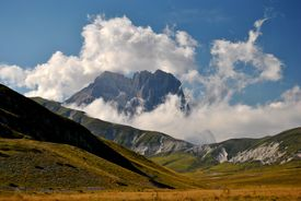 stock photo of apennines  - Gran Sasso seen from the plain of   - JPG