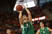 VALENCIA - MAY, 1: Free throw of Nikos Zisis during a Eurocup Finals match between Valencia Basket C