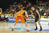 VALENCIA - MAY, 3: Bertans drives the ball during a Spanish league match between Valencia Basket Clu