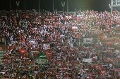 VALENCIA - MAY, 1: Sevilla supporters celebrate they go to final during Europe League semifinals mat