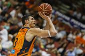 VALENCIA - MAY, 3: Lavrinovic shot during a Spanish league match between Valencia Basket Club and Bi