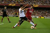 VALENCIA - MAY, 1: Parejo #21 drives the ball during UEFA Europe League semifinals match between Val