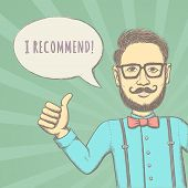 stock photo of recommendation  - Hipster Recommend This - JPG